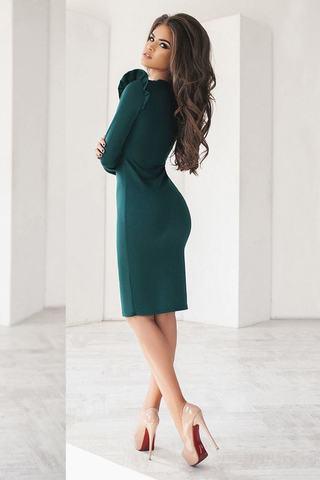 Трикотажное платье миди, бутылочного цвета 1