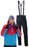Утеплённый прогулочный лыжный костюм Nordski Montana Red-Blue с лямками мужской