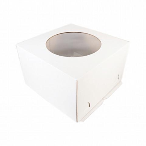 Коробка для торта с окном, 26*26*18см (белая)