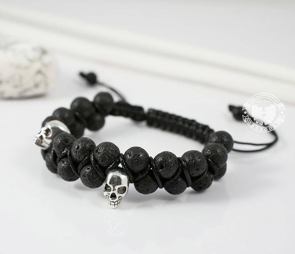 BS604 Мужской браслет шамбала с черепами, вулканическая лава. «Boroda Design» фото 05