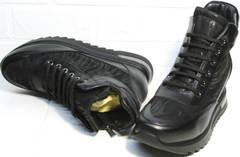Кожаные ботильоны женские сникерсы Evromoda 965 Black