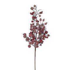 Веточка с ягодами 64 см красная заснеженная