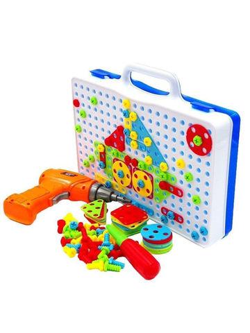 Развивающий детский конструктор мозаика с шуруповертом на батарейках. Creative Mosaic 237 предметов