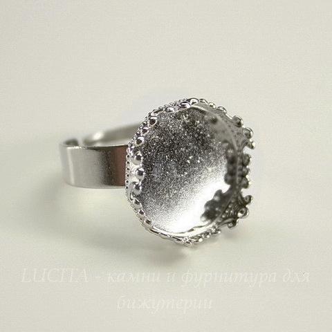 Основа для кольца с сеттингом с филигранным краем для кабошона 15 мм (цвет - никель)