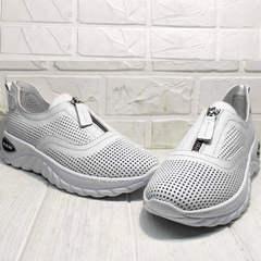 Белые женские кроссовки туфли кожаные женские с перфорацией Wollen P029-259-02 All White.