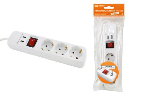 Удлинитель бытовой  У03В-USB 3 гнезда, 2USB разъема, 1,5 метра, вык., з/к, ПВС 3х1мм2  16А/250В TDM