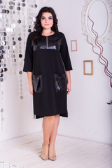 Емма. Стильне плаття з еко-шкірою плюс сайз. Чорний