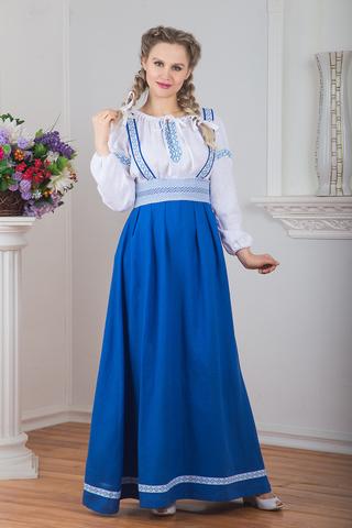 Сарафан подгрудный Орепей синий