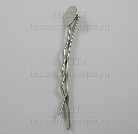 Основа для заколки - невидимки с площадкой 8 мм, 44 мм (цвет - никель), 5 штук ()