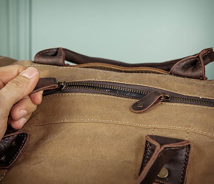 BAG500-2 Большая дорожная сумка из ткани коричневого цвета фото 11