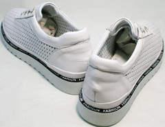 Удобные женские туфли на шнурках без каблука летние Evromoda 215.314 All White.