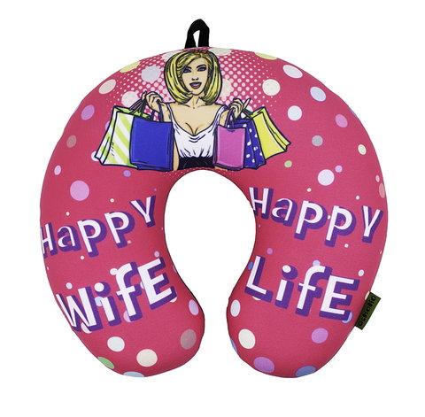 Подушка-подголовник Gekoko «Happy Wife», розовая