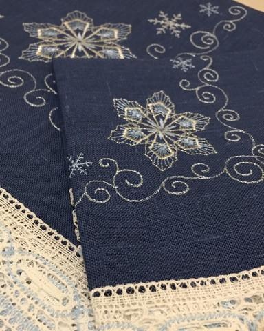 Столовый комплект винтажный синий столешник и салфетки