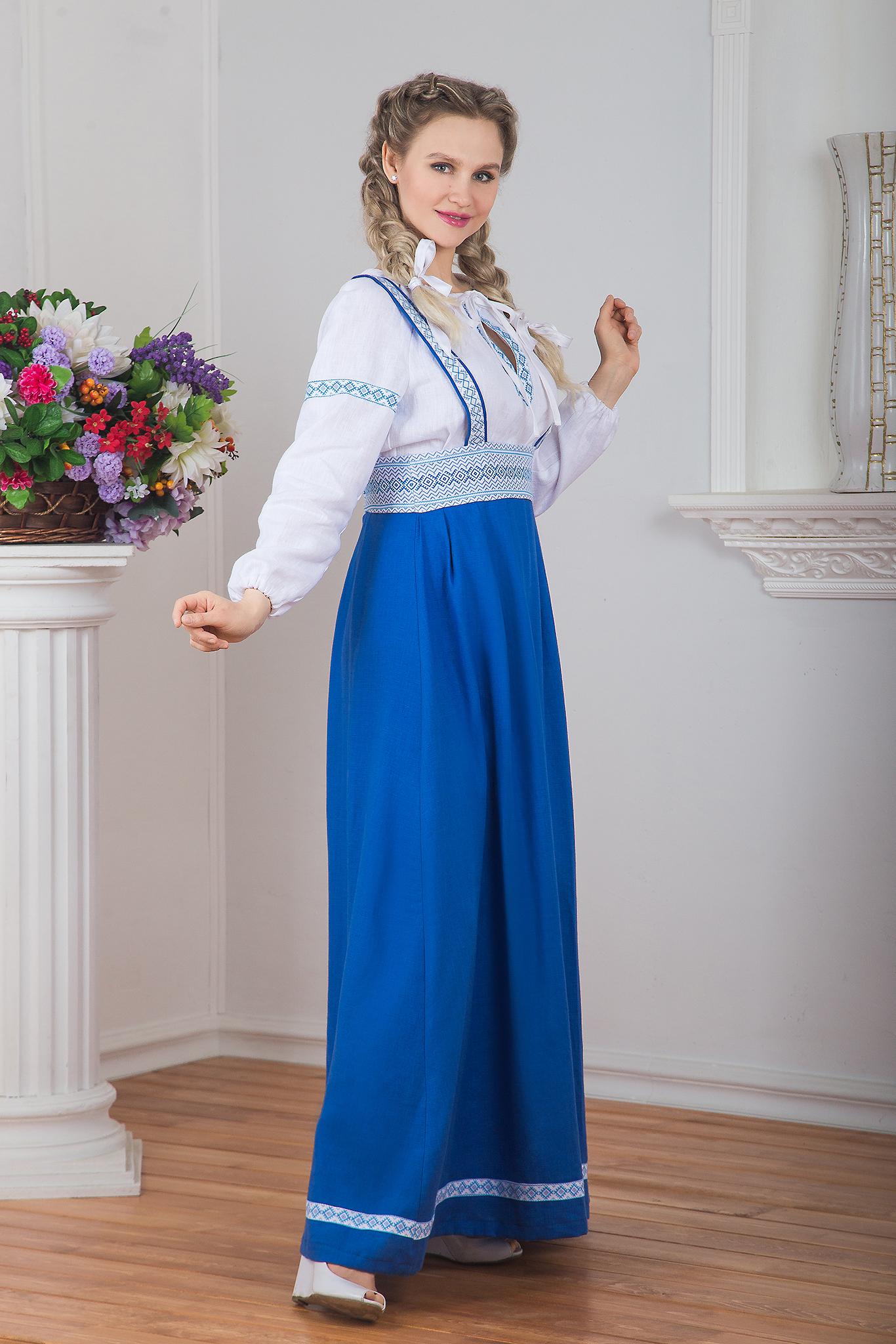 Сарафан подгрудный Орепей синий вид сбоку