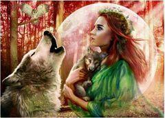 Картина раскраска по номерам 40x50 Девушка и волчица