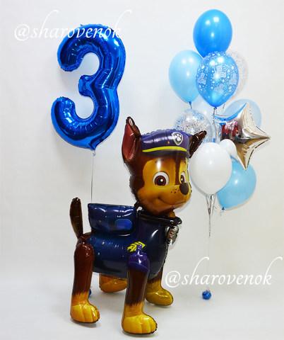 шары щенячий патруль, фонтан из шаров, шар цифра