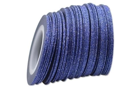 Лента самоклеющаяся синий глиттер 1мм