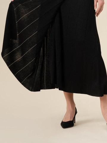 Женское платье-кимоно с поясом черного цвета из вискозы - фото 5