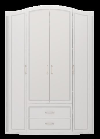 Шкаф для одежды четырехдверный Виктория 2 с ящиками Ижмебель белый глянец