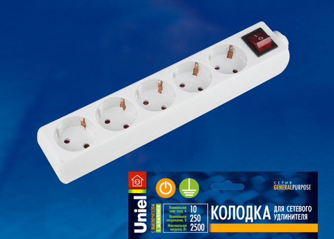 K-GCP5-10B WHITE Колодка для удлинителя Uniel, с выключателем. 5 гнезд, с/з, 10A, 2200Вт. Белый. ТМ Uniel