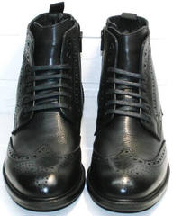 Мужские красивые ботинки дерби  на цигейке  LucianoBelliniBC3801L-Black .