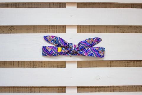 Повязка на голову (солоха) фиолетовая с голубым узором
