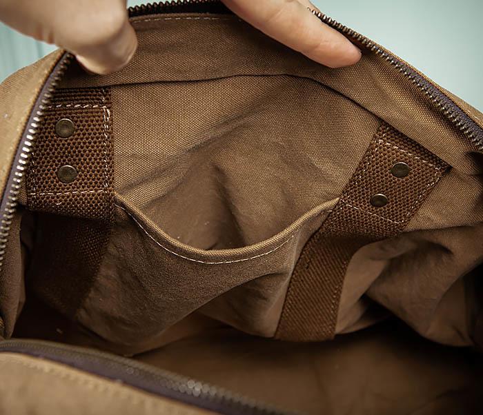 BAG500-2 Большая дорожная сумка из ткани коричневого цвета фото 14