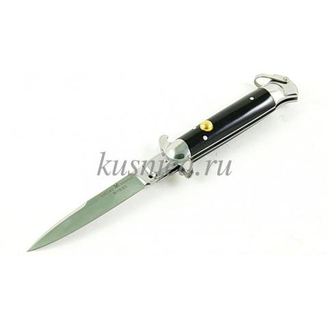 Нож выкидной флинт , сталь N695 , рукоять эбонит А327