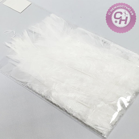 Перья натуральные белые, 20 шт, 10-15 см.