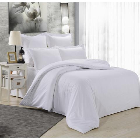 Комплект постельного белья с простыней на резинке. Сатин (100% хлопок), плотность 125 г/м2. Белый
