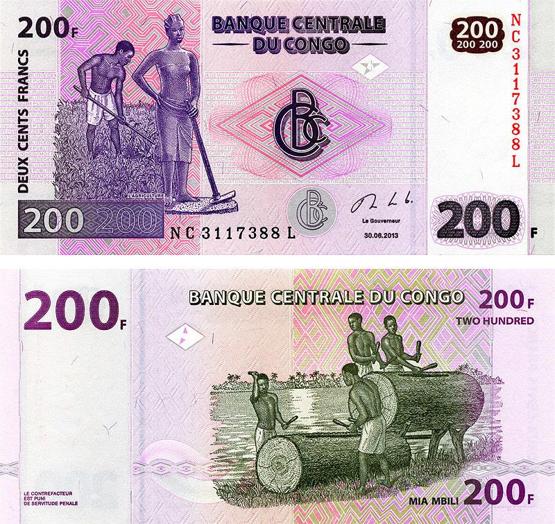 Банкнота 200 франков 2013 год, Конго. UNC