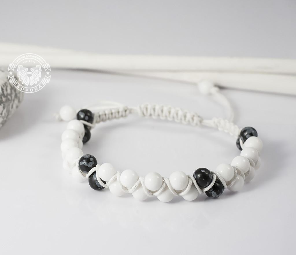 BS605 Белый мужской браслет шамбала ручной работы из натурального камня. «Boroda Design» фото 03