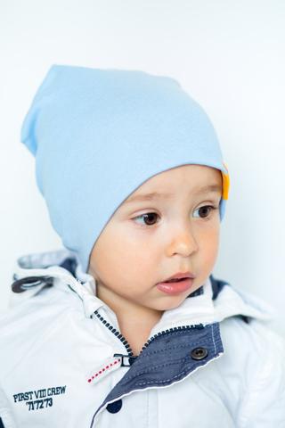 детская шапка хлопковая гладкая небесная