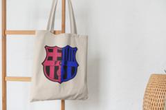 Сумка-шоппер с принтом FC Barcelona (ФК Барселона) бежевая 007