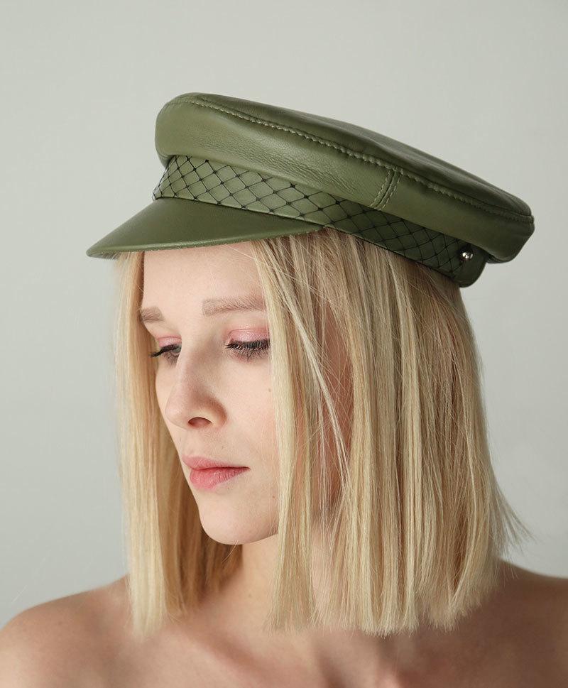 Кепка Leather Cap Olive