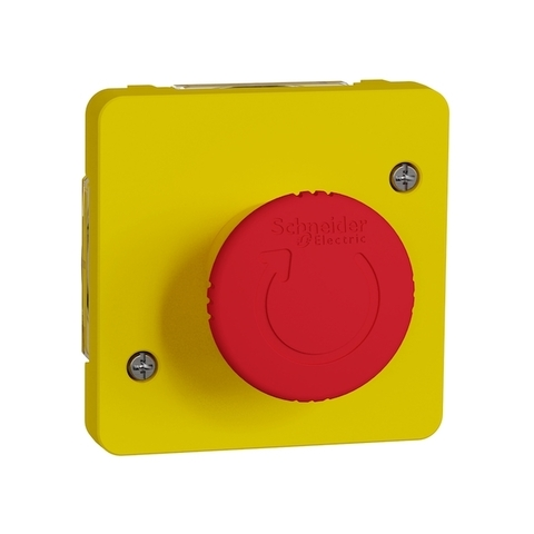Выключатель аварийного включения с поворотным рычажком. Цвет Жёлтый. Schneider Electric(Шнайдер электрик). Mureva styl(Мурева стайл). MUR35053