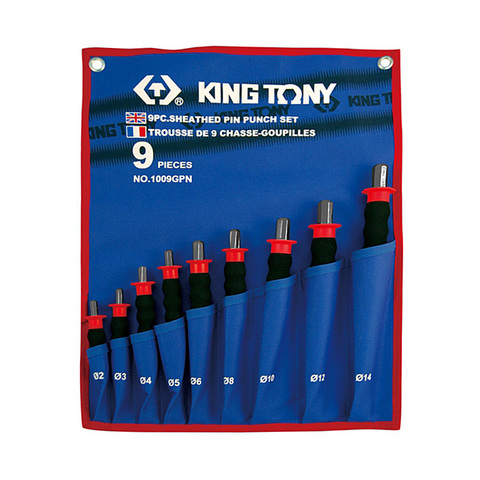 KING TONY (1009GPN) Набор выколоток с протектором, чехол из теторона, 9 предметов