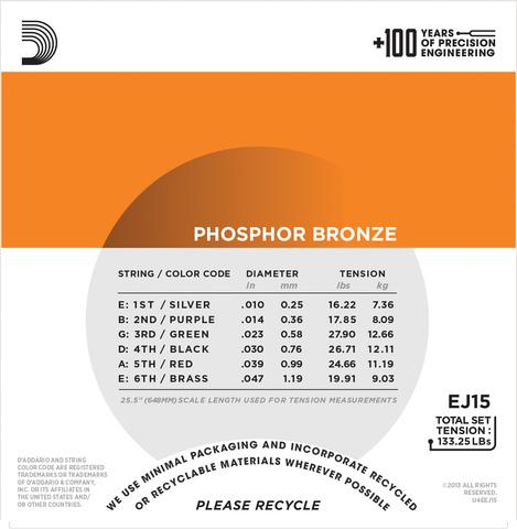 D`ADDARIO EJ15 PHOSPHOR BRONZE EXTRA LIGHT 10-47