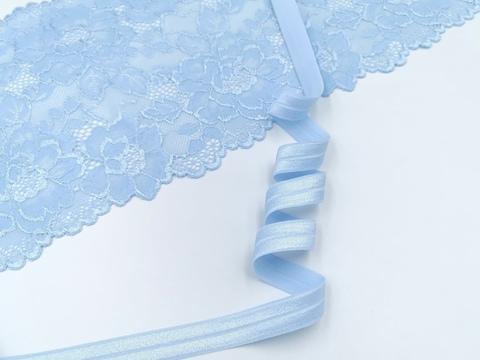 Эластичная бейка (косая бейка) с блеском, 15 мм, светло-голубой