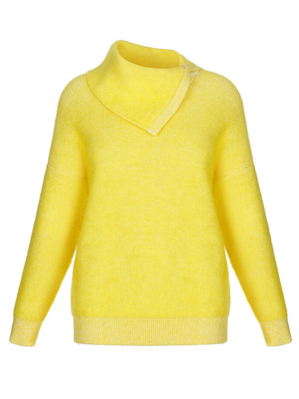 Женский свитер желтого цвета из мохера и кашемира - фото 1