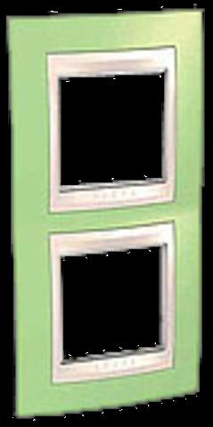 Рамка на 2 поста. Цвет вертикальная Зеленое яблоко/бежевый. Schneider electric Unica Хамелеон. MGU6.004V.563
