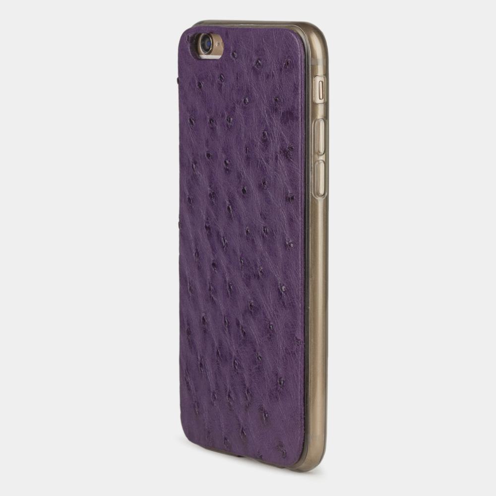 Чехол-накладка для iPhone 6/6S из натуральной кожи страуса, фиолетового цвета