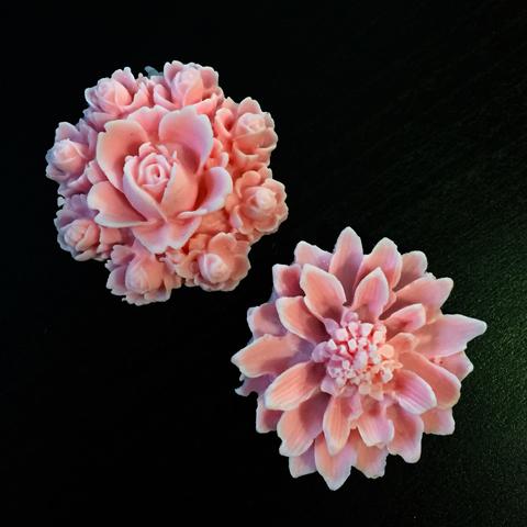 Молд 3D силиконовый  цветы Роза диаметр 45мм. Хризантема диаметр 40мм