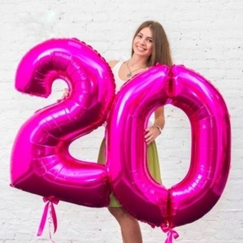 шарики цифры на день рождения малиновые