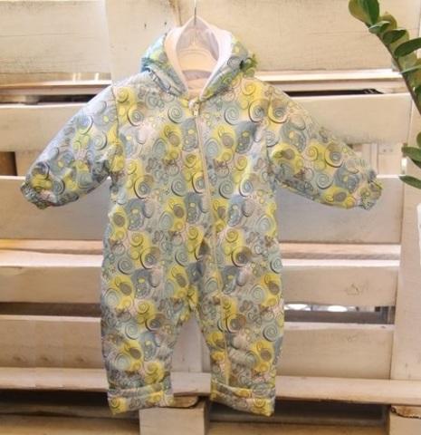 Детский комбинезон осень весна для малышей Цветущий луг зеленый