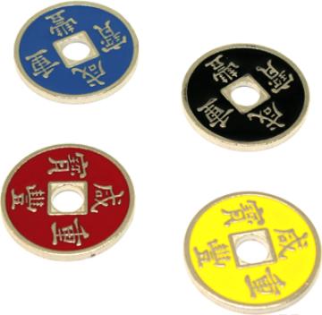 Поштучно - Китайские монетки цветные