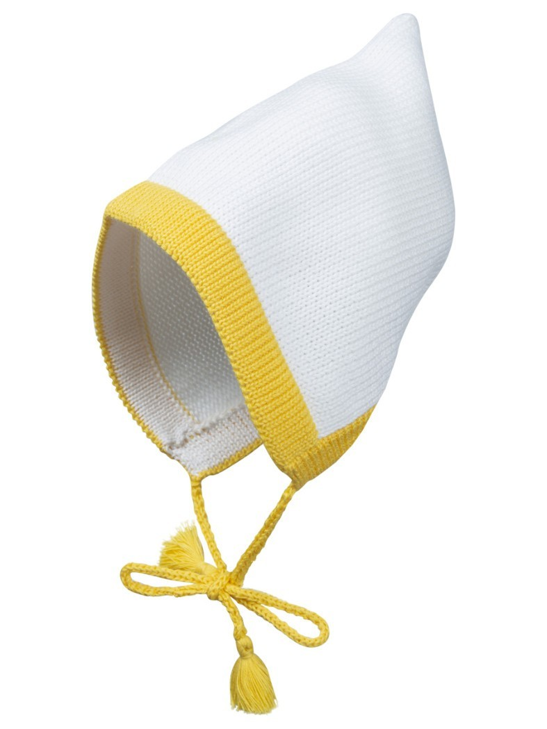Вязаная шапка Гном Merri Merini белая с желтой отделкой 6-12 мес.