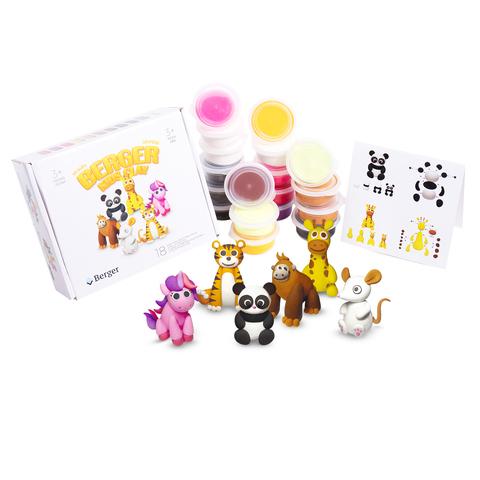Інтерактивний пластилін Berger Kids Clay Тварини 18 баночок 580г Різнокольоровий (Beasts 01-18) + подарунок