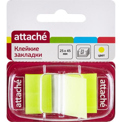 Клейкие закладки Attache пластиковые желтые 25 листов 25х45 мм в диспенсере