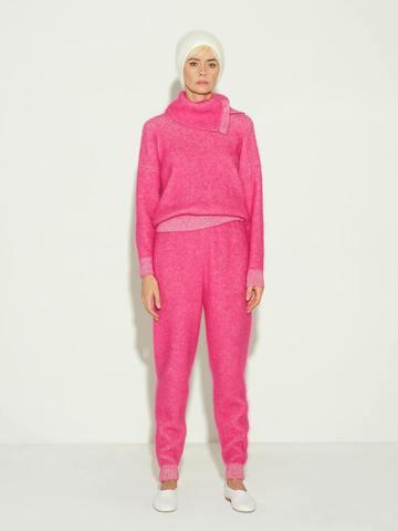 Женские брюки розового цвета из мохера и кашемира - фото 2
